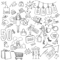 Shopping doodles Sale. hand drawn style