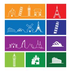 Travel landmark outline icons windows