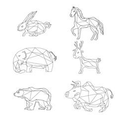 Animals polygonal shape design