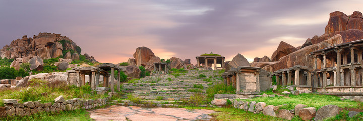 Stairs in the Hampi ancient hindu city Wall mural