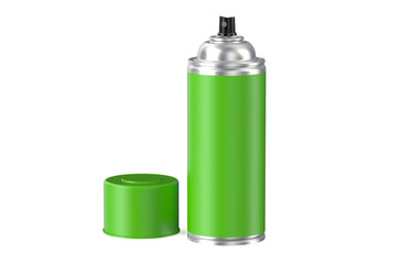 green aerosol spray can