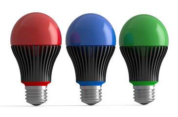 Set of colored LED lamps