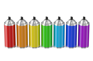 set of multicolored spray paint cans