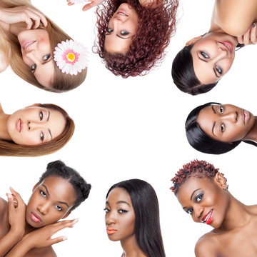 Beauty collage portaits of women with various skin tones