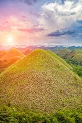Spoed Fotobehang Heuvel Beautiful Chocolate Hills in Bohol, Philippines