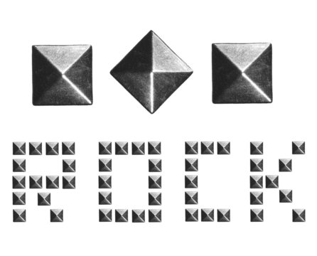 Fashion Rivets, Pyramid Metal Studs isolated on white