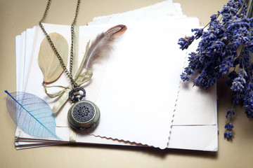 Old accessories and post cards