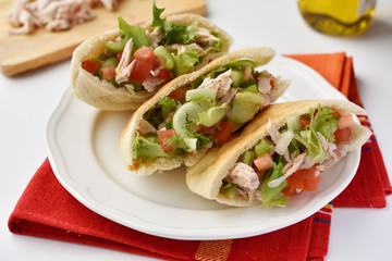 Pita with meat and vegetables