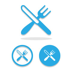 crossed fork knife icons set great for any use. Vector EPS10.
