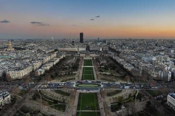 View of Paris from the Eiffel Tower by Sunset