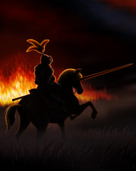 a lone knight riding a horse at night, around the fires of war