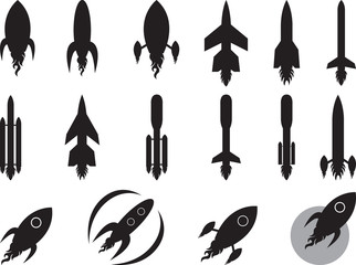 Set of space rockets isolated on white
