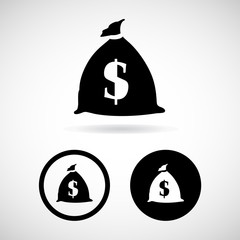 Dollar bag icons set great for any use. Vector EPS10.