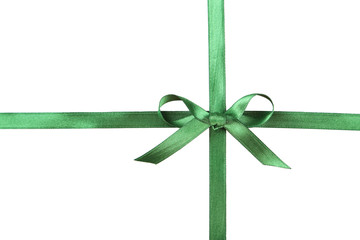 Green ribbon with bow on white background