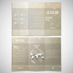 Vector set of tri-fold brochure design template on both sides