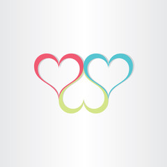 color hearts love symbol