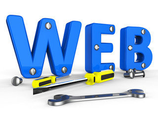 Web Tools Indicates Internet Softwares And Www