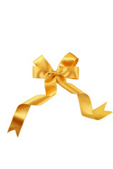 Golden bow isolated on white