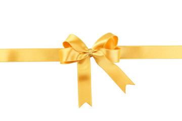 Golden bow on white background