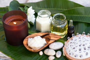 Spa ingredients (oil, creme ,scrub)