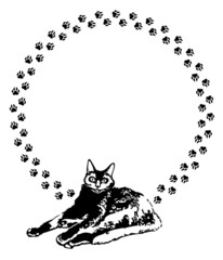 Round frame with black cat and cat's footsteps
