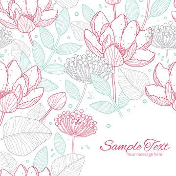 Vector modern line art florals frame corner pattern background