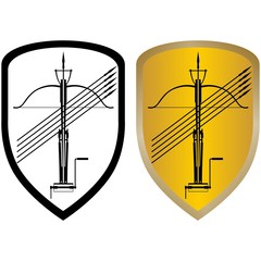 Shield, crossbow and arrows
