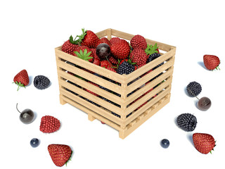 Fresh forest berries in wooden box on white background