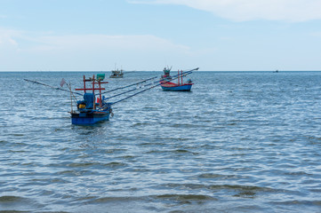 Small fishing boats on the sea
