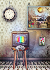 Printed kitchen splashbacks Imagination Vintage and steampunk television series