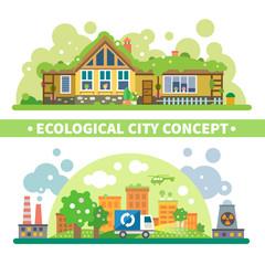 Ecological city concept. Vector flat illustration