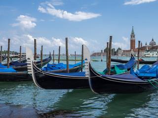 Venice, Italy - Gondolas moored on the lagoon
