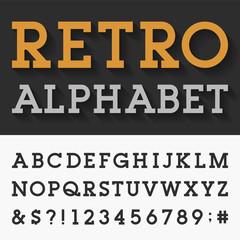 Retro Slab Serif Alphabet Vector Font