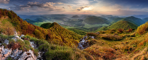 Green Spring Slovakia mountain nature landscape with sun and cro