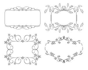 set of floral vector frames