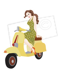 Illustration of a Woman on a Scooter