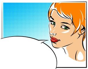 Pop art vector illustration of a woman  face