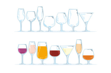 Separate vector set of different type of stemware