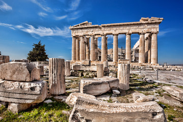 Stores photo Athenes Parthenon temple on the Acropolis in Athens, Greece