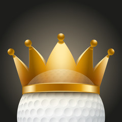 Background of Golf ball with royal crown