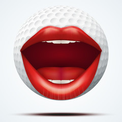 Golf ball with a talking female mouth.