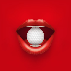 Background of Womans open mouth with golf ball in lips.