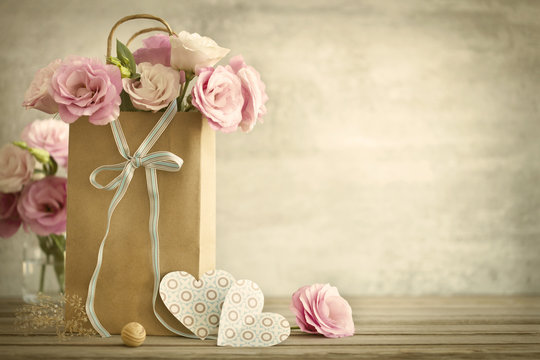 Wedding  background with roses flowers and Hearts - vintage styl