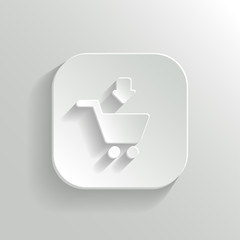 Add to shopping cart icon - vector white app button