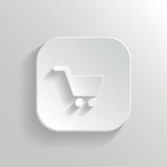 Shopping cart icon - vector white app button