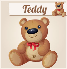 Teddy bear with red bow. Cartoon vector illustration. Series of
