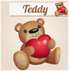 Teddy bear with red heart. Cartoon vector illustration. Series