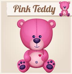 Pink teddy bear. Cartoon vector illustration. Series of children