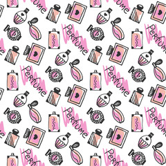 Perfume seamless pattern. Doodle sketch of perfume bottles in pink colors on white background. Vector illustration