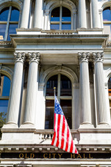 Flag and Columns on Old City Hall in Boston